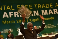 Moussa Faki Mahamat, the Chairperson of the African Union Commission celebrates the signing of AfCFTA